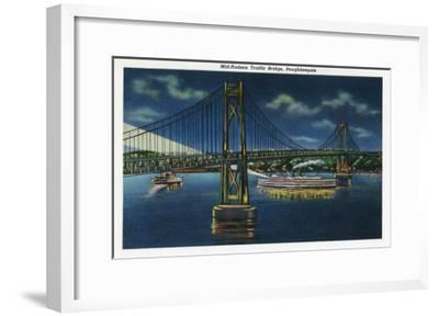 Poughkeepsie, New York - Night View of Mid-Hudson Traffic Bridge-Lantern Press-Framed Art Print