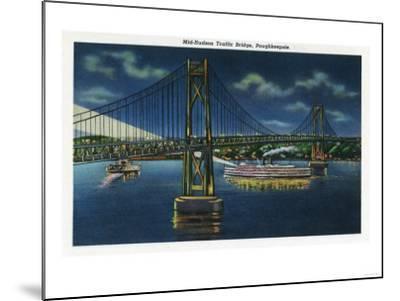 Poughkeepsie, New York - Night View of Mid-Hudson Traffic Bridge-Lantern Press-Mounted Art Print