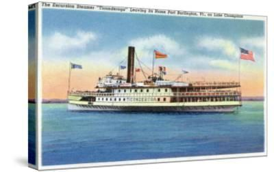 Lake Champlain, New York - Ticonderoga Steamer Leaving Port Burlington, VT-Lantern Press-Stretched Canvas Print