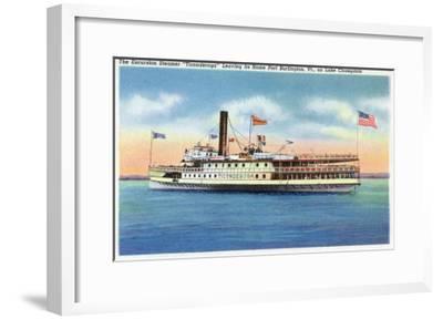 Lake Champlain, New York - Ticonderoga Steamer Leaving Port Burlington, VT-Lantern Press-Framed Art Print