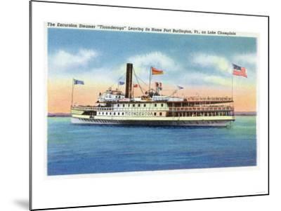 Lake Champlain, New York - Ticonderoga Steamer Leaving Port Burlington, VT-Lantern Press-Mounted Art Print