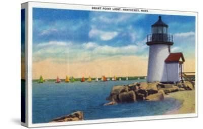 Nantucket, Massachusetts - Brant Point Lighthouse Scene-Lantern Press-Stretched Canvas Print