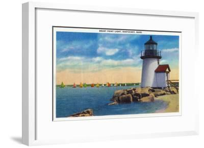 Nantucket, Massachusetts - Brant Point Lighthouse Scene-Lantern Press-Framed Art Print