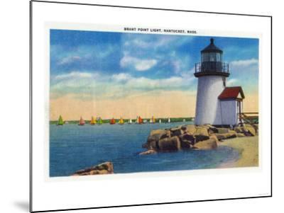 Nantucket, Massachusetts - Brant Point Lighthouse Scene-Lantern Press-Mounted Art Print