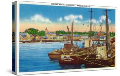 Nantucket, Massachusetts - View of Fishing Boats at Harbor-Lantern Press-Stretched Canvas Print