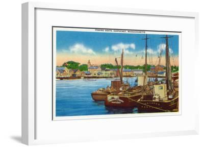 Nantucket, Massachusetts - View of Fishing Boats at Harbor-Lantern Press-Framed Art Print