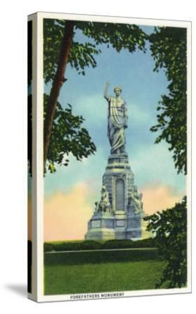Plymouth, Massachusetts - View of the Forefathers Monument No. 2-Lantern Press-Stretched Canvas Print