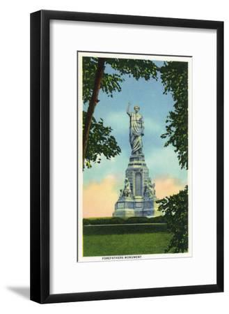 Plymouth, Massachusetts - View of the Forefathers Monument No. 2-Lantern Press-Framed Art Print