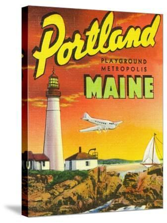 Portland, Maine - The Playground Metropolis, View of a Plane and Lighthouse-Lantern Press-Stretched Canvas Print