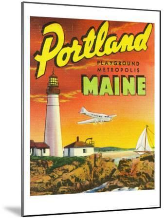 Portland, Maine - The Playground Metropolis, View of a Plane and Lighthouse-Lantern Press-Mounted Art Print
