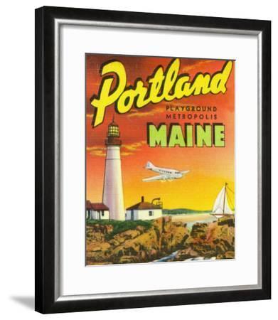Portland, Maine - The Playground Metropolis, View of a Plane and Lighthouse-Lantern Press-Framed Art Print