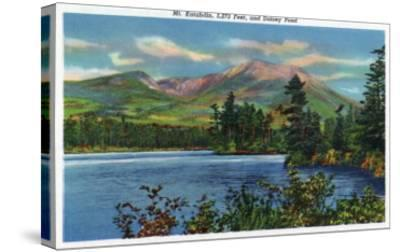 Maine - View of Mount Katahdin and Daicey Pond-Lantern Press-Stretched Canvas Print