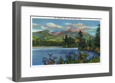 Maine - View of Mount Katahdin and Daicey Pond-Lantern Press-Framed Art Print