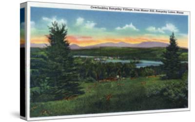 Rangeley Lakes, Maine - Manor Hill Overlooking Rangeley Village Scene-Lantern Press-Stretched Canvas Print