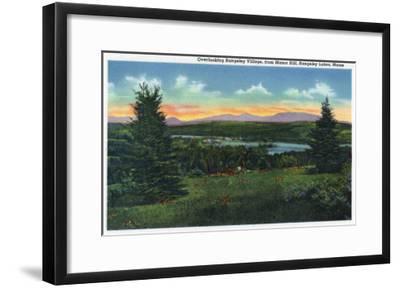 Rangeley Lakes, Maine - Manor Hill Overlooking Rangeley Village Scene-Lantern Press-Framed Art Print
