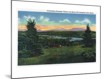 Rangeley Lakes, Maine - Manor Hill Overlooking Rangeley Village Scene-Lantern Press-Mounted Art Print