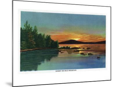 Maine - View of a Sunset on Bald Mountain-Lantern Press-Mounted Art Print