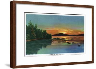 Maine - View of a Sunset on Bald Mountain-Lantern Press-Framed Art Print