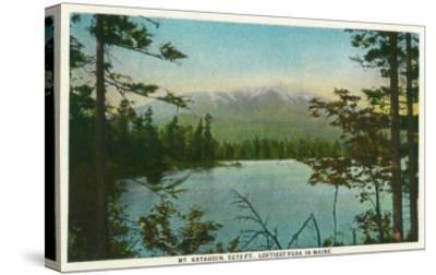 Maine - View of Mount Katahdin, Loftiest Peak in Maine-Lantern Press-Stretched Canvas Print