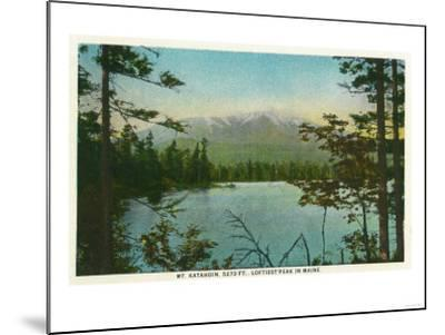 Maine - View of Mount Katahdin, Loftiest Peak in Maine-Lantern Press-Mounted Art Print
