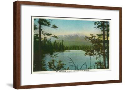 Maine - View of Mount Katahdin, Loftiest Peak in Maine-Lantern Press-Framed Art Print