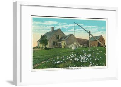 Maine - View of an Old New England Homestead-Lantern Press-Framed Art Print