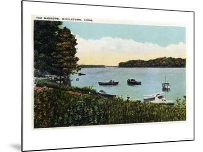Middletown, Connecticut - View of Boats at the Narrows-Lantern Press-Mounted Art Print