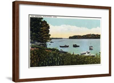 Middletown, Connecticut - View of Boats at the Narrows-Lantern Press-Framed Art Print