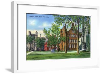 New Haven, Connecticut - Yale University Campus View-Lantern Press-Framed Art Print