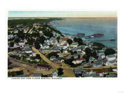 Provincetown, Massachusetts - Eastern Aerial View of Town from Pilgrim Monument-Lantern Press-Framed Art Print