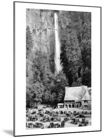 Multnomah Falls, Oregon - Exterior View of the Lodge and Falls, Parking Lot Filled-Lantern Press-Mounted Art Print