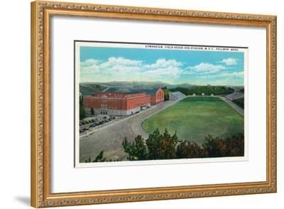 Pullman, Washington - Aerial View of WA State College Gym and Stadium-Lantern Press-Framed Art Print