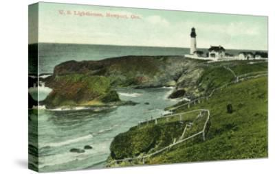 Newport, Oregon - View of a US Lighthouse-Lantern Press-Stretched Canvas Print