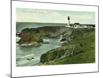 Newport, Oregon - View of a US Lighthouse-Lantern Press-Mounted Art Print