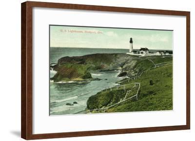 Newport, Oregon - View of a US Lighthouse-Lantern Press-Framed Art Print