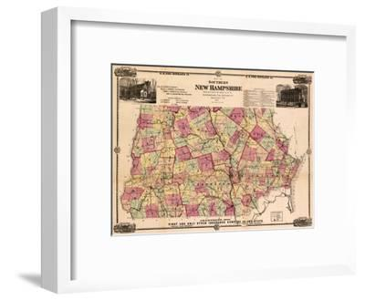 New Hampshire - Panoramic Map-Lantern Press-Framed Art Print