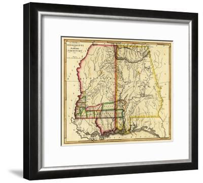 Mississippi and Alabama - Panoramic Map-Lantern Press-Framed Art Print