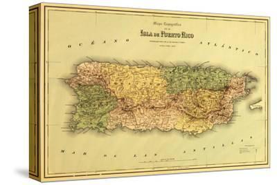 Puerto Rico - Panoramic Map-Lantern Press-Stretched Canvas Print