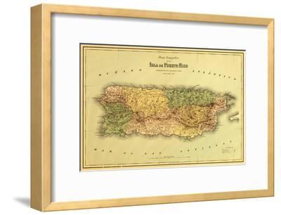 Puerto Rico - Panoramic Map-Lantern Press-Framed Art Print