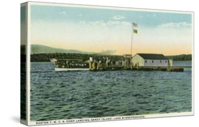 Lake Winnipesaukee, ME - Sandy Island, Boston YMCA Camp Landing View-Lantern Press-Stretched Canvas Print
