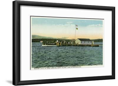 Lake Winnipesaukee, ME - Sandy Island, Boston YMCA Camp Landing View-Lantern Press-Framed Art Print