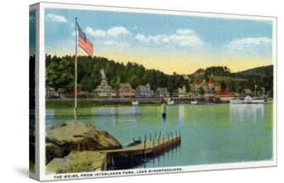 Lake Winnipesaukee, Maine - Interlaken Park View of the Weirs-Lantern Press-Stretched Canvas Print