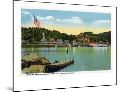 Lake Winnipesaukee, Maine - Interlaken Park View of the Weirs-Lantern Press-Mounted Art Print