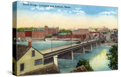 Maine - View of the North Bridge Connecting Lewiston and Auburn-Lantern Press-Stretched Canvas Print