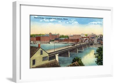 Maine - View of the North Bridge Connecting Lewiston and Auburn-Lantern Press-Framed Art Print