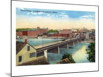Maine - View of the North Bridge Connecting Lewiston and Auburn-Lantern Press-Mounted Art Print