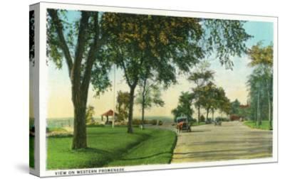 Portland, Maine - Scenic View on the Western Promenade-Lantern Press-Stretched Canvas Print