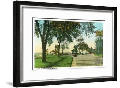 Portland, Maine - Scenic View on the Western Promenade-Lantern Press-Framed Art Print