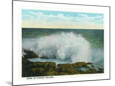 Portland, Maine - Peaks Island View of the Surf-Lantern Press-Mounted Art Print