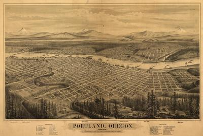 Oregon - Map of Portland-Lantern Press-Stretched Canvas Print